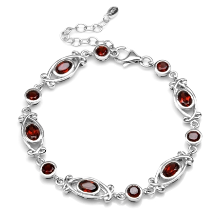 4.89ct Natural Garnet White Gold Plated 925 Sterling Silver Victorian Style 6.5-8 Inch Adj. Bracelet
