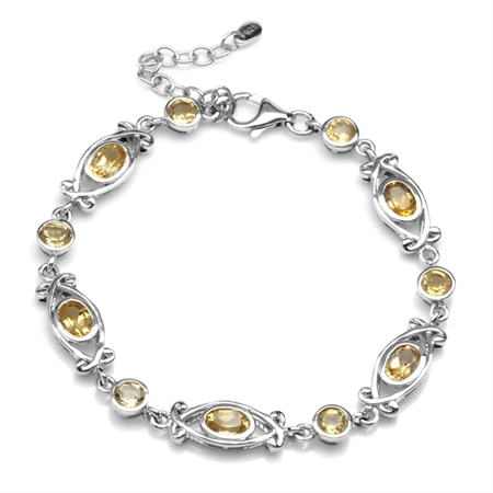 """3.65ct. Natural Citrine White Gold Plated 925 Sterling Silver Victorian Style 6.5-8"""" Adj. Bracelet"""