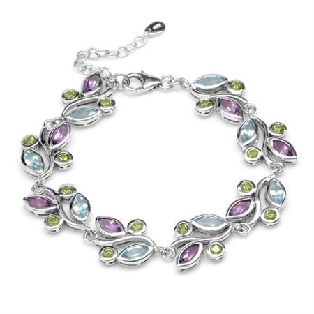Natural Peridot, Amethyst & Blue Topaz 925 Sterling Silver Leaf 6.75-7-8.25 Inch Adjustable Bracelet