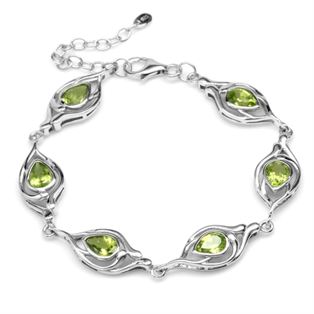 4.38ct. Natural Pear Peridot White Gold Plated 925 Sterling Silver 6.75-7-8.25 Inch Adj. Bracelet