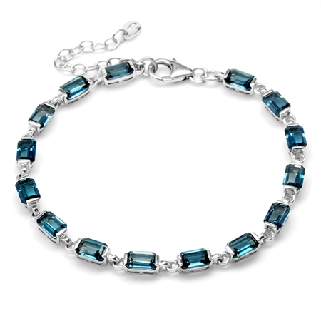 "11.7ct. Genuine London Blue Topaz White Gold Plated 925 Sterling Silver 7-8.5"" Adj. Tennis Bracelet"