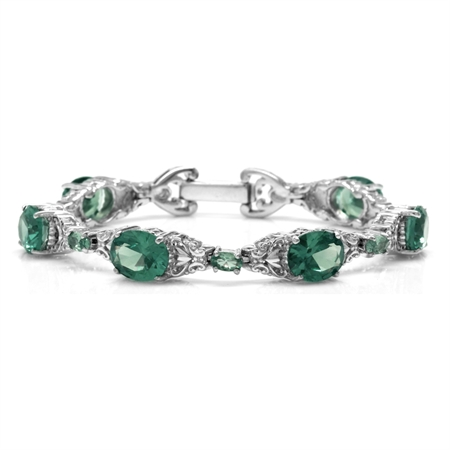 Simulated Color Change Alexandrite 925 Sterling Silver Victorian Style Bracelet 6.75 Inch.
