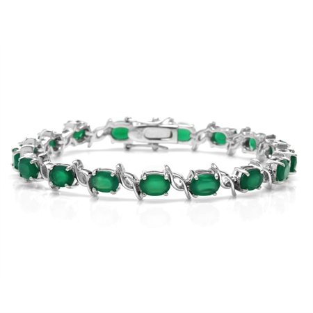 11.39ct. Natural Emerald Green Agate White Gold Plated 925 Sterling Silver Tennis Bracelet 7.5 Inch.
