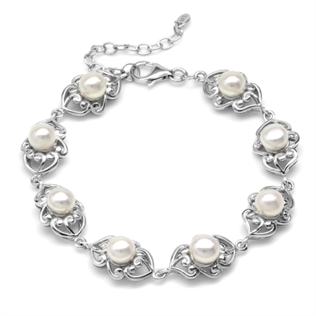 6MM Cultured Freshwater White Pearl 925 Sterling Silver Filigree 6.75-7-8.25 Inch Adj. Bracelet