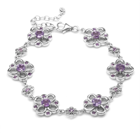 3.54ct. Natural Amethyst White Gold Plated 925 Sterling Silver Flower 7-8.5 Inch Adjustable Bracelet