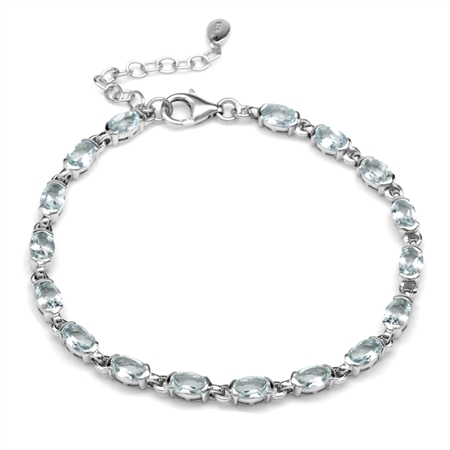 6.46ct Genuine Blue Aquamarine White Gold Plated 925 Sterling Silver Tennis 7-8.5 Inch Adj. Bracelet