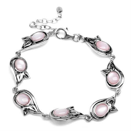 Oval Shape Pink Mother Of Pearl 925 Sterling Silver Leaf 6.75-8.25 Inch Adjustable Bracelet