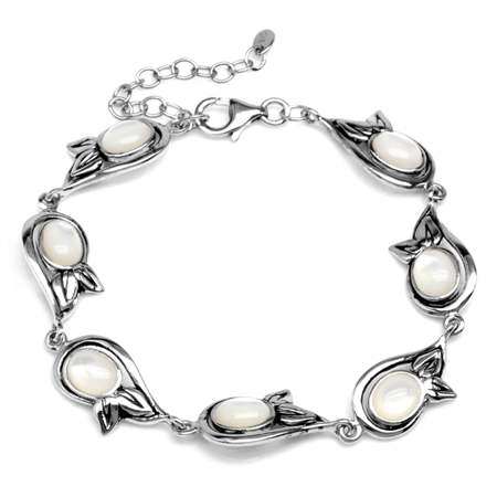 Oval Shape White Mother Of Pearl 925 Sterling Silver Leaf 6.75-8.25 Inch Adjustable Bracelet