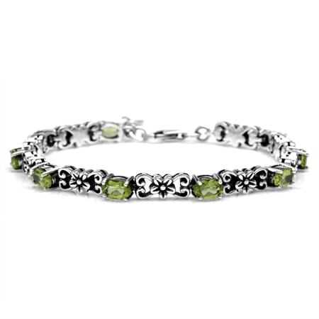 4.32ct. Natural Peridot 925 Sterling Silver Flower Victorian Style 6.75-7-8.25 Inch Adj. Bracelet