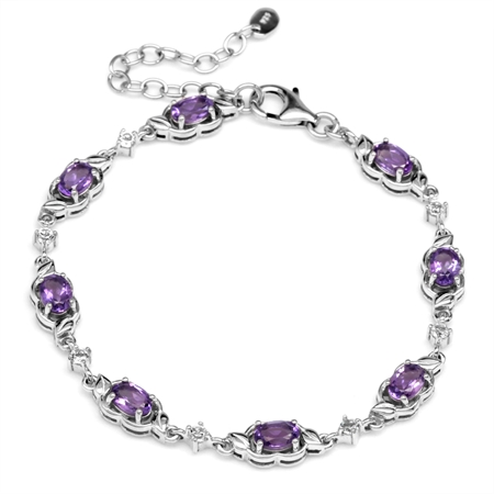 3.36ct. Natural Amethyst & White Topaz 925 Sterling Silver Leaf 6.5-8.25 Inch Adjustable Bracelet