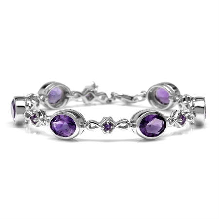 9.96ct. 9x7MM Natural Oval Shape African Amethyst 925 Sterling Silver 6-7-8 Inch Adj. Bracelet