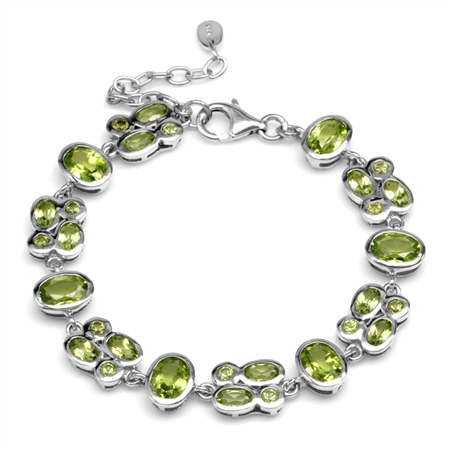 9ct. Natural Peridot White Gold Plated 925 Sterling Silver Cluster 6-7.5 Inch Adjustable Bracelet