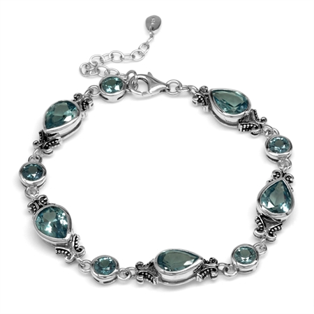 Simulated Color Change Alexandrite 925 Sterling Silver Balinese Style 7.25-8.75 Inch Adj. Bracelet