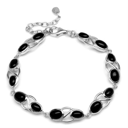 Genuine Black Onyx White Gold Plated 925 Sterling Silver 6.75-7-8.25 Inch Adjustable Bracelet