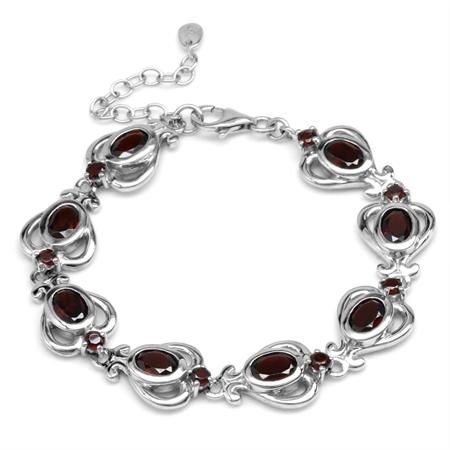9.04ct. 9x7MM Natural Garnet 925 Sterling Silver Heart Victorian Style 6.25-7.75 Inch Adj. Bracelet