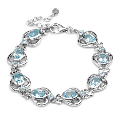 "8.48ct. 9x7MM Oval Genuine Blue Topaz 925 Sterling Silver Victorian Heart 6.25-7.75"" Adj. Bracelet"