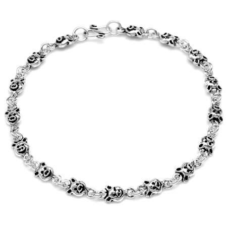 925 Sterling Silver Pig Casual Teens/Girls Bracelet 7.5 Inch.