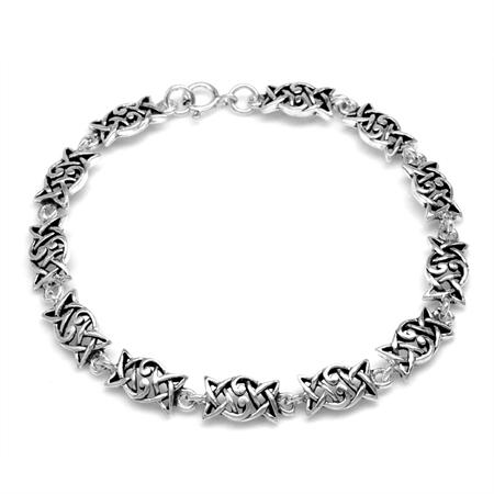 925 Sterling Silver Celtic Knot/Weave Casual Bracelet 7.5 Inch.