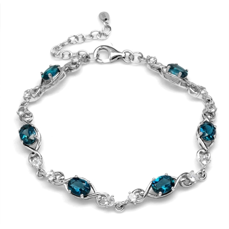 5.82ct. Genuine London Blue Topaz 925 Sterling Silver Swirl & Spiral 7-8.5 Inch Adjustable Bracelet