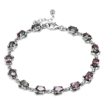 12.46ct Mystic Fire Topaz White Gold Plated 925 Sterling Silver 7.75-8-9.25 Inch Adjustable Bracelet