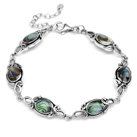 8x6MM Oval Abalone/Paua Shell 925 Sterling Silver Leaf Vintage Inspired 7-8.5 Inch Adj. Bracelet