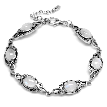 8x6MM Oval Natural Moonstone 925 Sterling Silver Leaf Vintage Inspired 7-8.5 Inch Adj. Bracelet