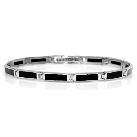 Rectangular Shape Created Black Onyx Inlay 925 Sterling Silver Link Bracelet