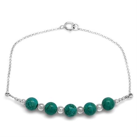 5-Stone 6MM Created Green Turquoise Sphere Ball 925 Sterling Silver Chain Bracelet 7 Inch.