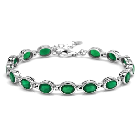 "10.95ct. Natural Emerald Green Agate 925 Sterling Silver Bezel Set 7-8.5"" Adj. Tennis Bracelet"