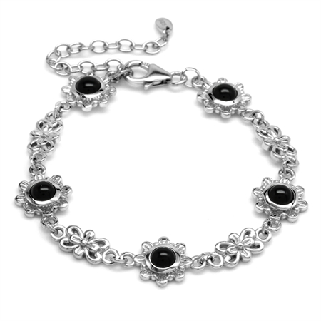 5MM Genuine Round Shape Black Onyx 925 Sterling Silver Flower 6-7-8 Inch Adjustable Bracelet