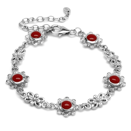 5MM Created Round Shape Red Coral 925 Sterling Silver Flower 6-7-8 Inch Adjustable Bracelet