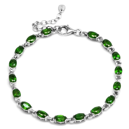 Genuine Green Chrome Diopside 925 Sterling Silver Half-Bazel-Set Tennis Bracelet