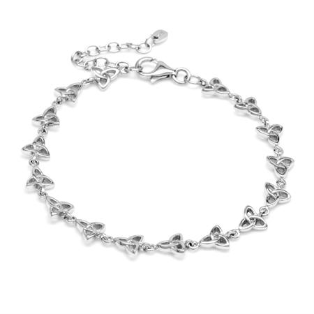 925 Sterling Silver Triquetra Celtic Knot 6.75 Plus 1.5 Inch Extension Bracelet
