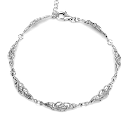 925 Sterling Silver Celtic Knot 7.5 plus 1.5 Inch Adjustable Bracelet