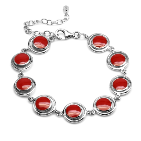 1960s Geometric Futuristic Created Red Coral 925 Sterling Silver Bracelet 6 to 8 inch Extension