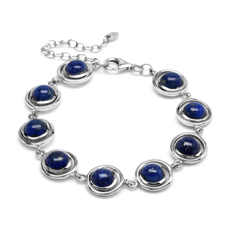 1960s Geometric Futuristic Natural Blue Lapis Gem 925 Sterling Silver Bracelet 6 to 8 inch Extension