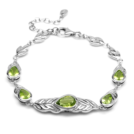 Natural Green Peridot Stone 925 Sterling Silver Graduate Leaf Link Bracelet