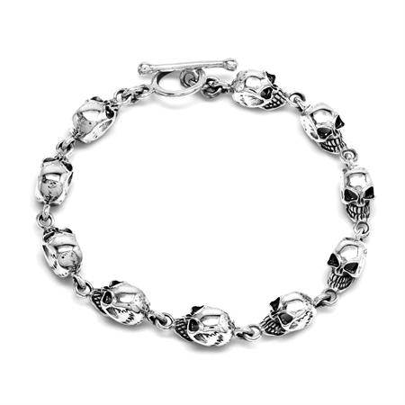 7.75 Inch 925 Sterling Silver Antique Finish Goth Death Head Skull Skeleton Chram Bracelet