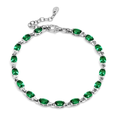 "6.29 Ct Nano Green Emerald 925 Sterling Silver Tennis 7-8.5"" Adjustable Bracelet"