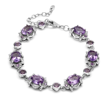 Genuine 11.7 Ctw Amethyst Victorian Inspired 925 Sterling Silver Adjustable Link Bracelet 7-8.5 Inch