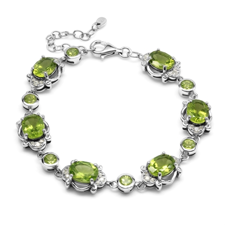 Natural 13.9 Ctw Green Peridot Victorian Inspired 925 Sterling Silver Adjustable Link Bracelet