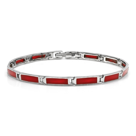 Rectangular Shape Created Red Coral Inlay 925 Sterling Silver 8 Inch Link Bracelet