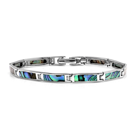 Rectangular Shape Abalone/Paua Shell Inlay 925 Sterling Silver Link Bracelet 7 Inch