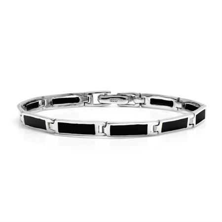Rectangular Shape Created Black Onyx Inlay 925 Sterling Silver Link Bracelet 7 Inch
