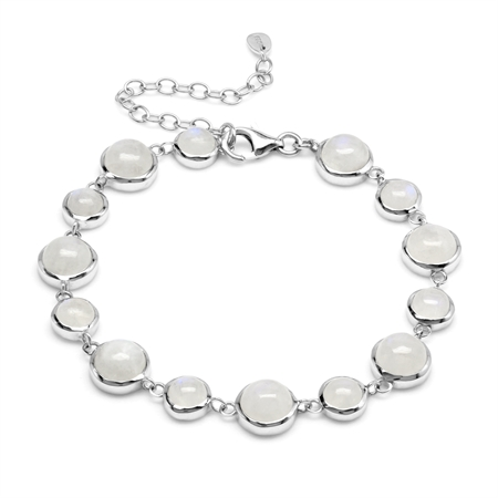 Natural 25 Ct 8 mm and 6 mm Rainbow Moonstone 925 Sterling Silver Link Bracelet