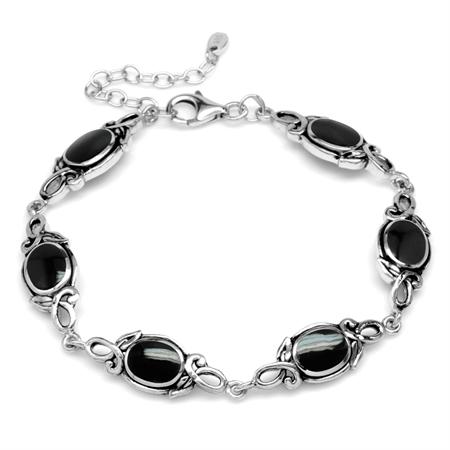 Natural Black Onyx Inlay 925 Sterling Silver Leaf Vintage Inspired 7 to 8.5 Inch Adjustable Bracelet