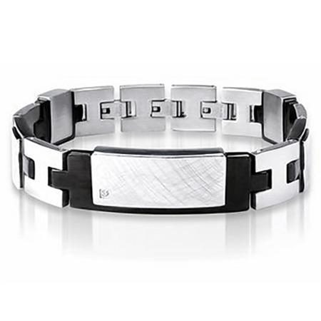 Natural Diamond Textured 2-Tone PVD Stainless Steel Men Bracelet