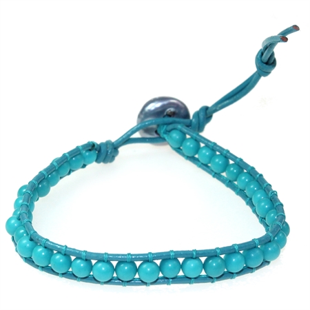 """Cultured Black Pearl & Created Turquoise Ball Bead Leather 6-8"""" Bracelet"""