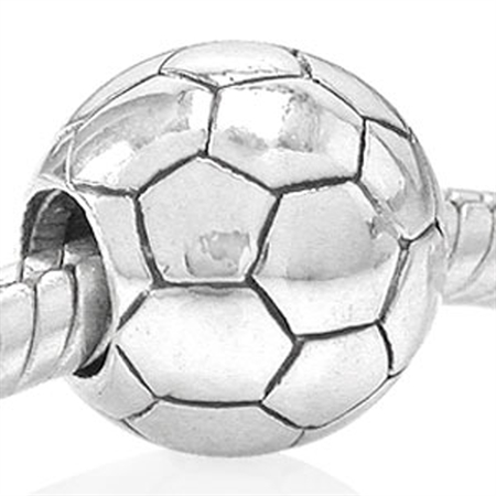 925 Sterling Silver SOCCER Threaded European Charm Bead