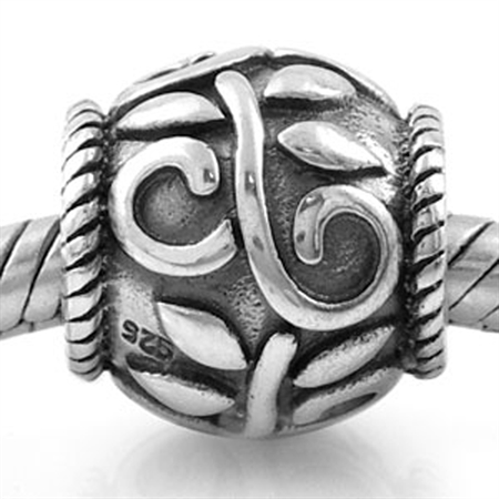 European LEAVES Silver Threaded European Charm Bead
